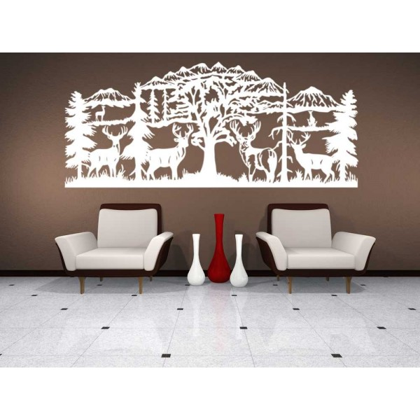The Deer in the forest landscape lounge wall sticker.