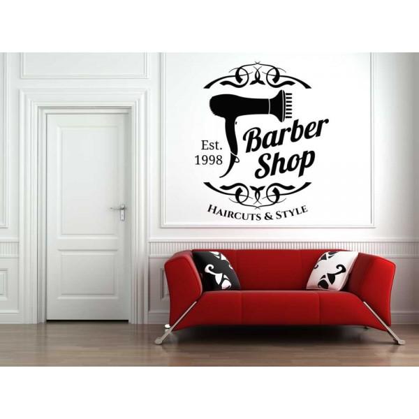 Barber shop hair salon logo window sign sticker.