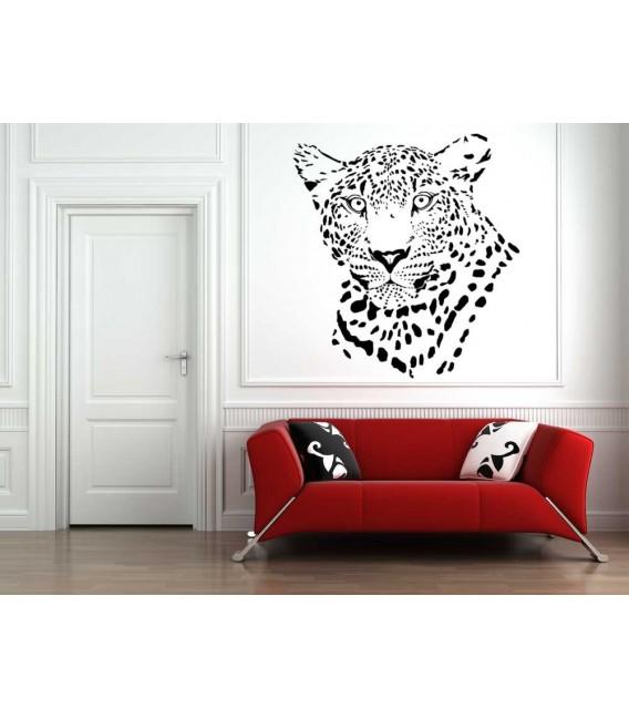 Leopard head art giant wall sticker.