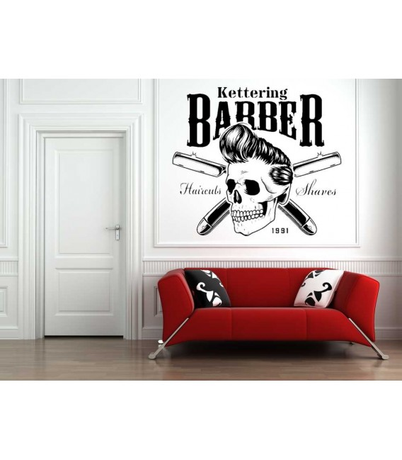 Barber shop logo skull window sign sticker.