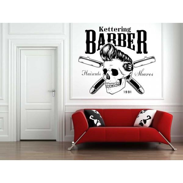 Barber shop logo skull window sign sticker.