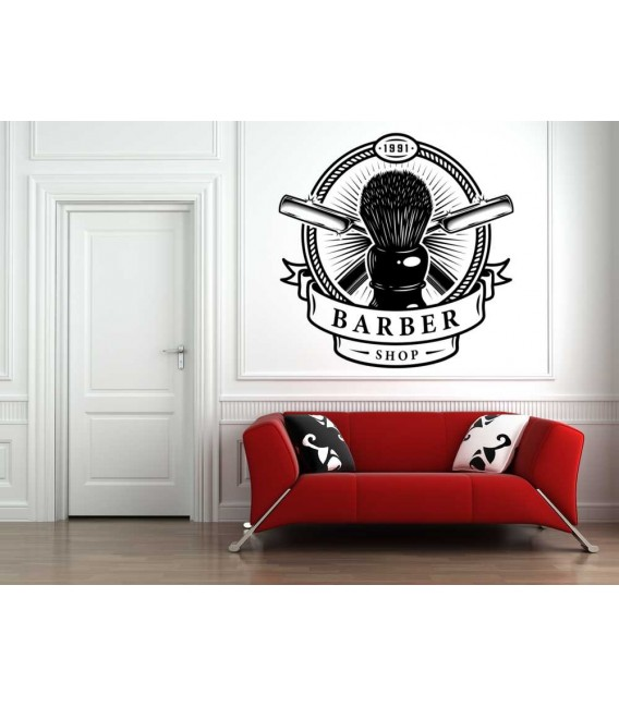Barber shop hair salon logo window sign decal.