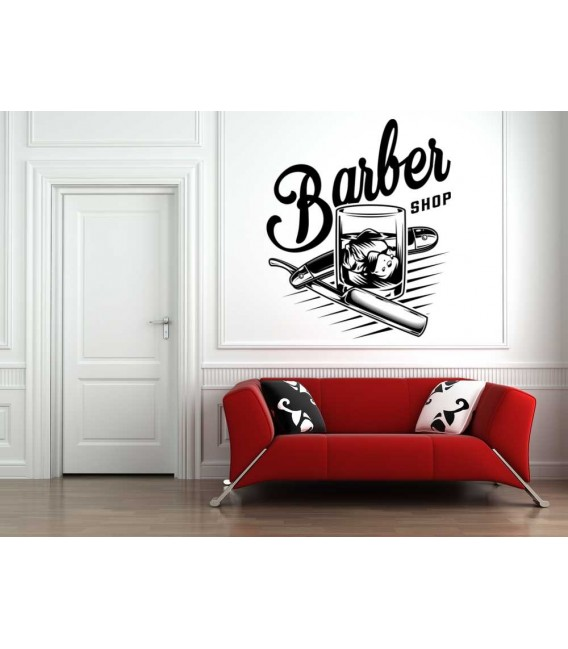 Barber shop hair salon logo window sign sticker.