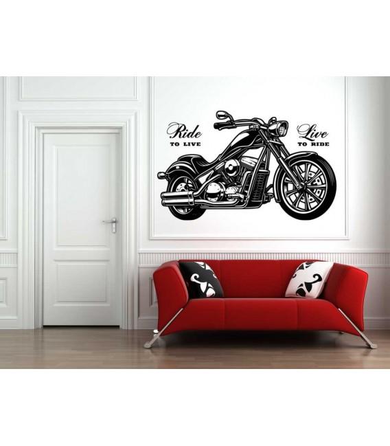 Vintage motorcycle bedroom wall sticker.