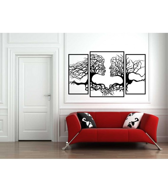 The kissing faces landscape lounge wall sticker.