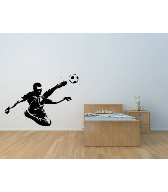 Personalised football player as bedroom wall sticker.