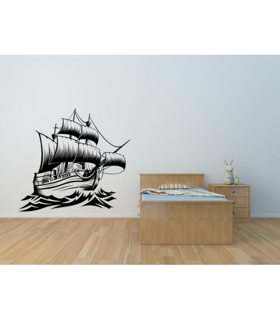 Sailing ship and waves wall sticker boy bedroom.