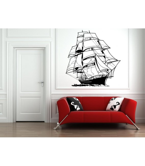 Sailing ship wall sticker for boy bedroom wall decoration.