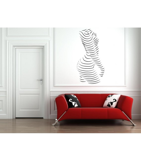Picture of woman as a stripes wall sticker.