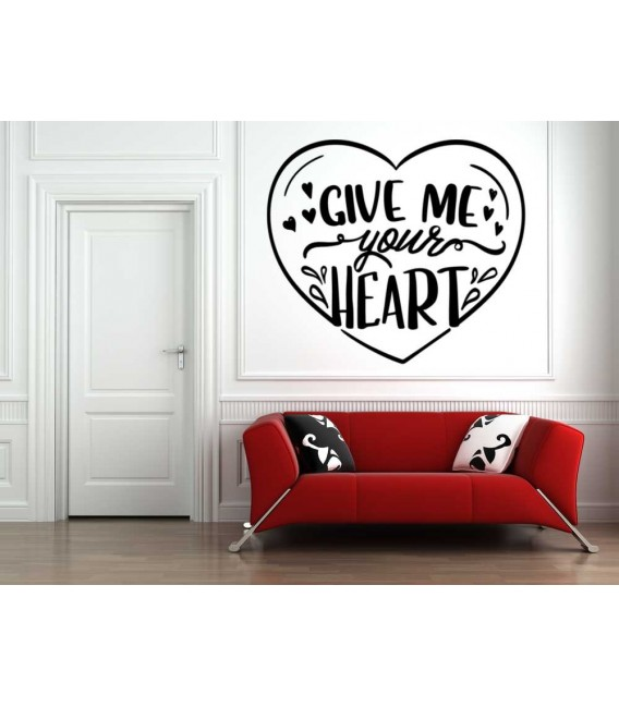 Give me your heart bedroom wall sticker.