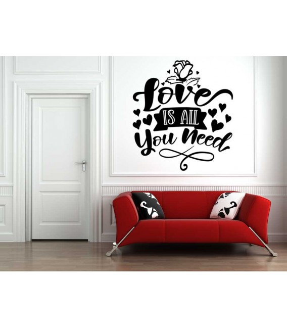 Love is all you need romantic bedroom wall sticker.