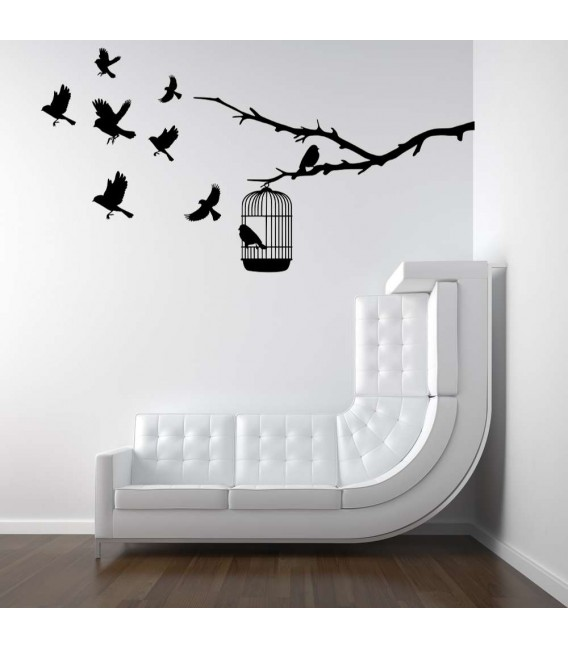 Flying birds and cage bedroom wall sticker.