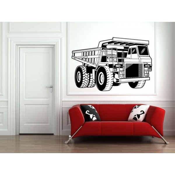 Big truck wall sticker for bedroom wall decoration.
