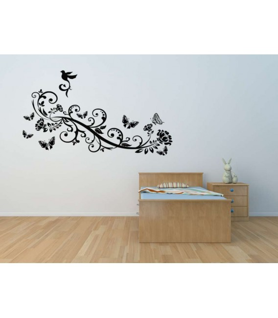Butterflies and bird on the branch animal wall art decal, decorative wall art decal.