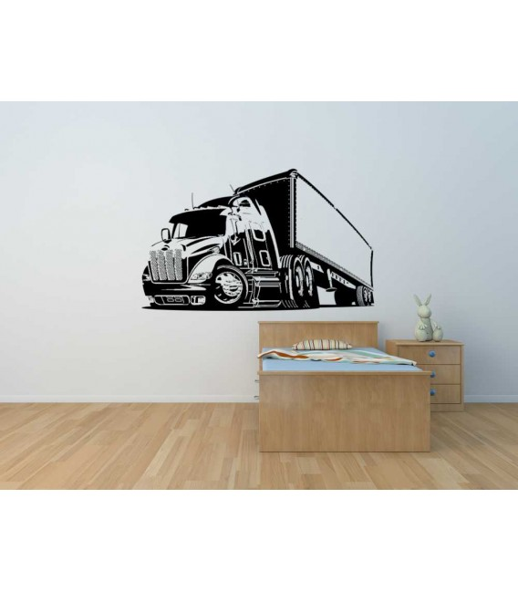 Cartoon truck wall sticker for bedroom wall decoration.
