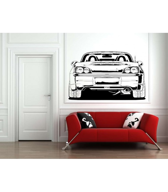 Convertible car boy bedroom wall decal.
