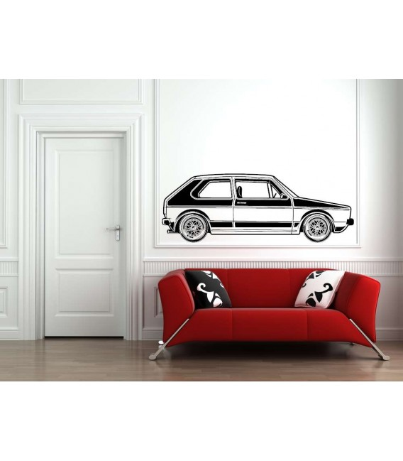 VW Golf MK1 car boy bedroom vinyl wall sticker.